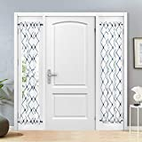 Topfinel Sheer French Door Window Curtains 25x72 Inches Sidelight Curtains for Front Door Tieback Included, White Navy, 2 Panels