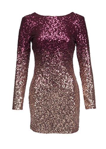 Pretty Attitude Elegantes glitzerndes Damen Langarm Kleid mit Pailletten – Gr. M