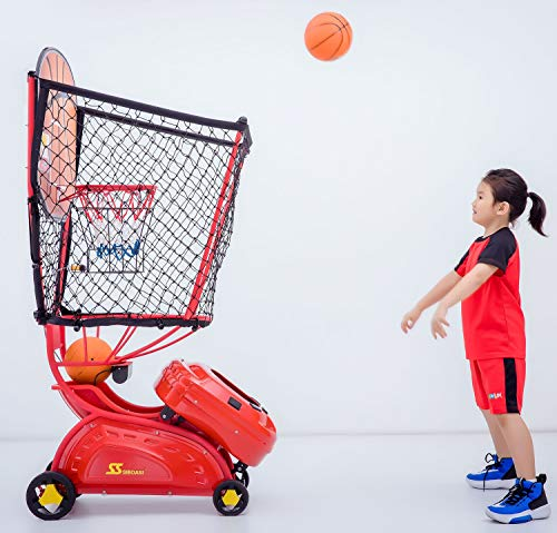 SIBOASI Sports S6809 Basketball Shooting Machine Kids Youth Basketball Rebounder Return and Guard Net Portable Basketball Training Equipment for Home Schools Club Facilities (RED)