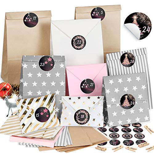 Adventskalender zum Befüllen 2020, 26 Kraftpapier Tüten Weihnachten Geschenktüten, DIY Adventskalender Selber Basteln, Papiertüten mit 24 Zahlen-Aufklebern - für Kinder zum Befüllen Dekorieren