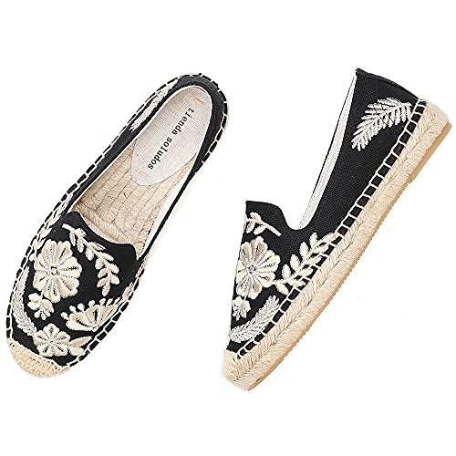 LYNLYN Gestickte Schuhe für Frauen Womens Casual Espadrilles Slip auf atmungsaktiven Flachs Hanf Leinwand für Mädchen Schuhe Mode Stickerei Komfortable Damen Mädchen Gestickte Fersen - 4