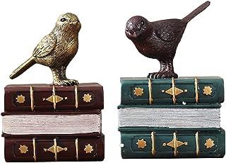 نهايات الدفاتر المزخرفة من الراتينج والطيور والكتب وديكور المنزل ينتهي كتاب الكتب المكتبية لحمل الكتب