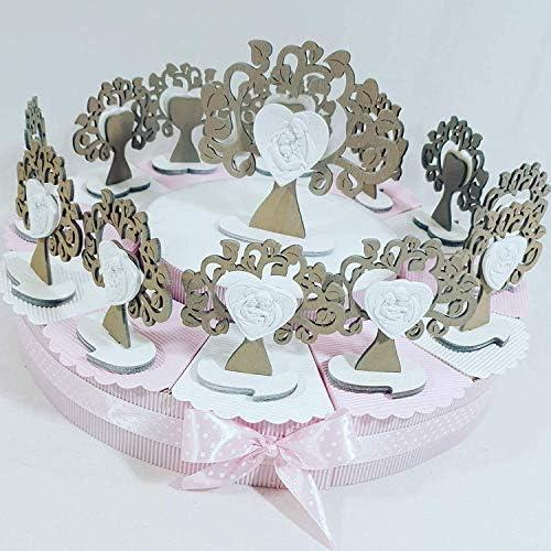 Bonboniere Baum des Lebens Sacra ideal für Taufe Junge A Torta Rosa Da 48 Fette 3piani