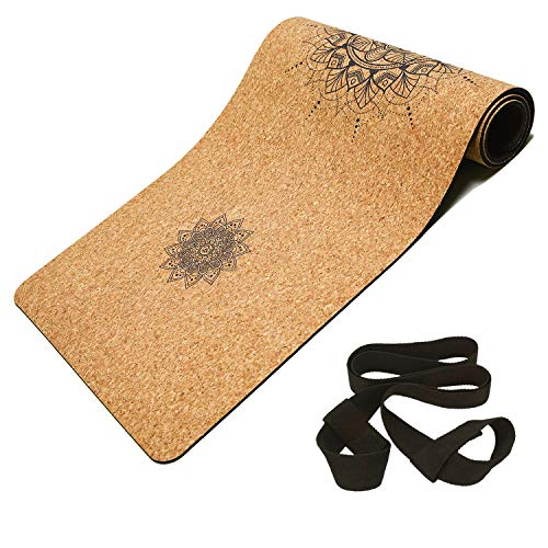 "Masdery Cork Yoga Mat Non Slip Naturel Rubber 72""x 24"" Body Line High Elasticity 4mm Thick Yoga Mat Upgraded Wear Resistant with Strap Eco Friendly Floor Exercises Portable Hot Yoga Pilates"