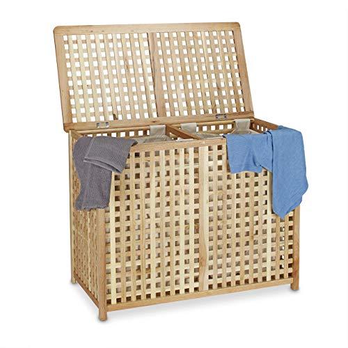 Relaxdays Wäschesammler Duo Walnuss breite Wäschetruhe HBT 46,1 x 87,9 x 68,1 cm Wäschesortierer Doppel Wäschebox Holz mit 2 Leinensäcken Wäschesäcken, natur