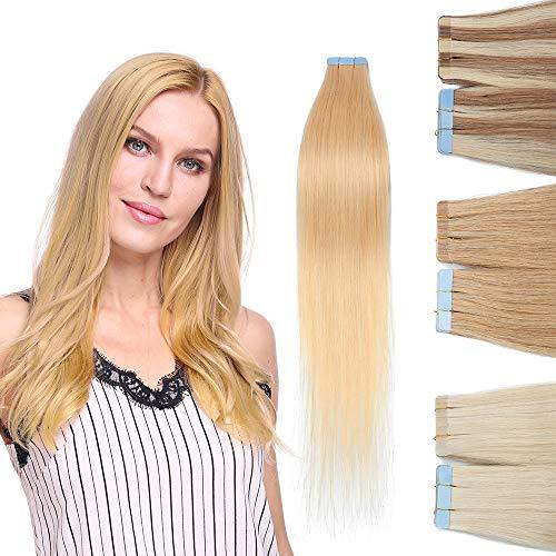 Extension Adhesive Cheveux Naturel 10 Pcs 20g - Rajout Vrai Cheveux Humain Lisse à Bande Adhesive (#613 Blond très clair, 35 cm)