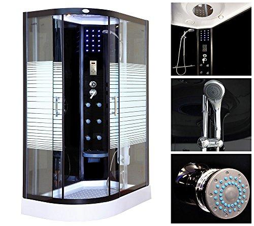 Home Deluxe Black Pearl 120×80 cm links Duschtempel, inkl. Dampfsauna und komplettem Zubehör - 3