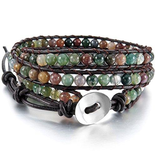 MunkiMix Metalllegierung Legierung Echtleder Armband Armreifen Manschette Seil Indien Achat Bunt Mehrfarbig Multicolor Kugel Perle Perlen 3 Wickeln Einstellbar Verstellbaren