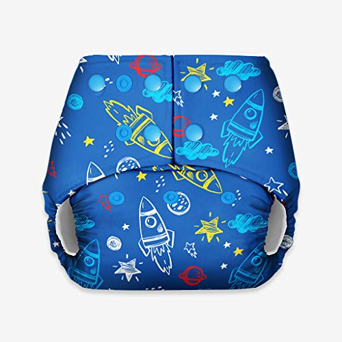 superbottoms Basic - Certified Soft Fleece Lined Pocket Diaper ONLY (Without Any Soaker) (Space) One Size Adjustable Diaper- 4 Sizes in 1  5kg-17kg