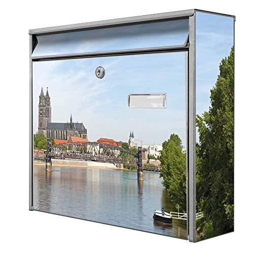 Burg Wächter Design Briefkasten | Postkasten 36cm x 32cm x 11cm groß | Stahl silber verzinkt mit Namensschild | großer A4 Einwurf, 2 Schlüssel | Dom Magdeburg