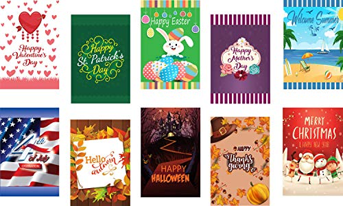 Seasonal Garden Flags Set of 10 for Outdoors - 10 Pack Assortment of 12x18 inch Small Holiday Yard Flags - Double Sided Colorful Design for All Seasons and Holidays - Premium Quality Durable Material