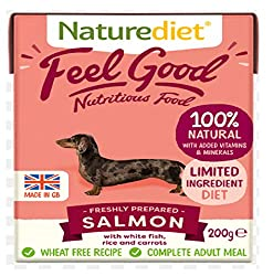 SALMON, WHITE FISH, RICE & CARROTS. Complete and balanced nutrition - drinking water should be available at all times and chewing/gnawing items made available for dental hygiene. Certified holistic and naturally moist dog food Wheat gluten free. Mini...