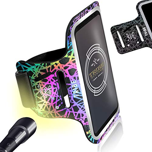 Reflective Running Phone Holder Sports Armband. Cellphone Arm Band for Women & Men. Runners, Jogging, Exercise, Walking & Gym Workout. Cell Bands for iPhones, Galaxy and More! Fits Phones of Any Size!