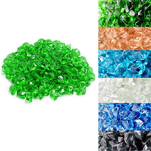 Skyflame 10-Pound Polygon Fire Glass for Fire Pit Fireplace Landscaping,1/2-inch, Emerald Green