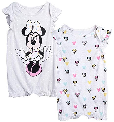 Disney Baby Girls Romper 2 Pack: Minnie Mouse Ruffle Sleeve Romper (Newborn/Infant), Size 12 Months, Lavender/White Multi Minnie