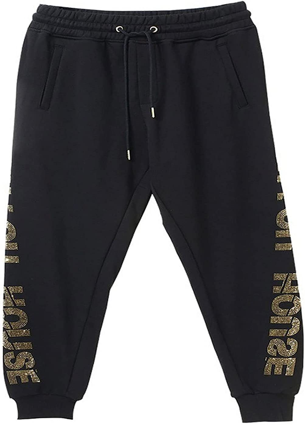 Letters on Both Sides Rhinestone Leisure Trousers Unisex