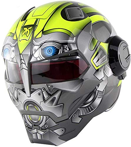ZCY Motorcycle Helmet Off-Road Motorcycle Full Face Casco Moto Flip Open Mask Helmet, Bumblebee Transformers Helmet D.O.T Certification,L:(59~60cm)