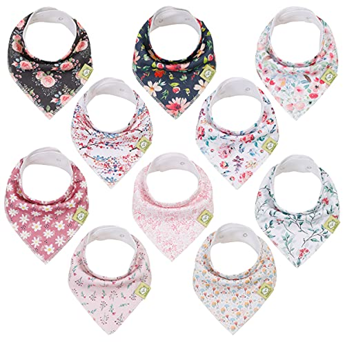 Bavoirs en bandana en coton biologique pour filles - Lot de 10 bavoirs (Tea Party)