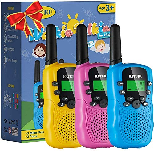 Toys for 3-12 Year Old Girls Boys, Kids Toys Walkie Talkies for Kids with Backlit LCD Flashlight, 3KM Girls Festival Gifts Age 3 to 12 Year Old to Outside, Hiking, Camping(3 Pack)
