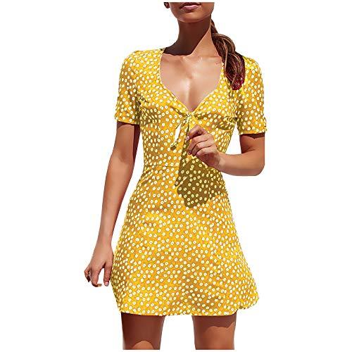 YANFANG Vestido de Playa con Lazo con Cuello en V y Manga Corta con Estampado Floral Informal de Lunares a la Moda para Mujer Sexy Elegante