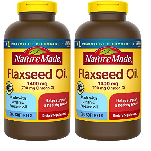 Nature Made Organic Flaxseed Oil 1,400 mg - Omega-3-6-9 for Heart Health - 300 Softgels(Pack of 2)