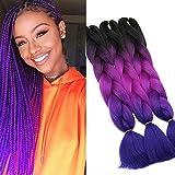 Trenzas de peluca de fibra púrpura degradado de tres colores de 24 pulgadas 3 trenzas gigantes de cabello sintético trenzado gigante
