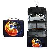 Sun and Earth Yin Yang Kulturbeutel, multifunktional, Kosmetiktasche, Reisetasche, Make-up-Tasche, Aufbewahrungstasche, tragbar, Kulturbeutel für Frauen und Mädchen