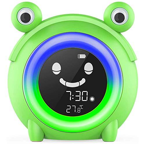 TUIHJA Reloj Despertador para NiñOs Reloj de Entrenamiento para Dormir para NiñOs con luz de Despertador MáQuina de Sonido para Dormir Reloj Despertador MultifuncióN The Sleep Buddy