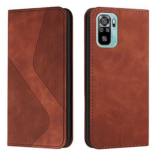 Amlope Handyhülle für Xiaomi Redmi Note 10 4G/Note 10S, Lederhülle Flip Tasche, Hülle Magnetische Automatische Adsorption Brieftasche PU Leder schutzhülle mit Kartenfächer