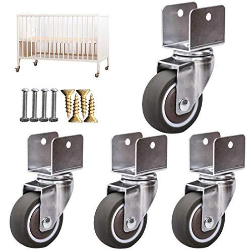Pequeñas ruedas de ruedas de muebles giratorios, ruedas de recambio de lecho para bebé, ruedas de silencio móvil, ruedas de ruedas de goma de 1,25 pulgadas de 32 mm con soporte en forma de U, carga 60