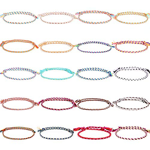 Jewdreamer 20Pcs Handmade Wrap Friendship Braided Bracelet for Women Colorful Wrist Cord Adjustable Birthday Gifts-Party Favors