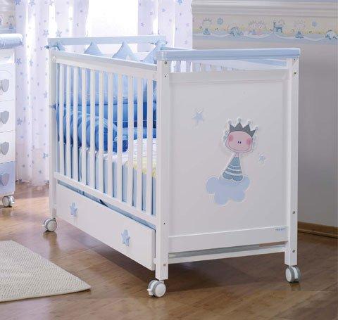 Lit à barreaux en bois pour bébé Petit Prince Micuna blanco/cielo
