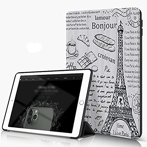 She Charm Hülle füriPad 10,2 Zoll 7. Generation 2019/2020mit Paris traditionelle berühmte Pariser Elemente Bonjour Croissan Kaffee Eiffelturm, Ultradünn Leichte Schutzhülle mit Auto Schlaf/Weck