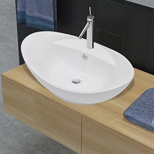Luckyfu Badinstallation Luxuri?SES Keramik Waschbecken Oval + ¨¹berlauf 59 x 40cm Material: Keramik Waschtisch Waschbecken
