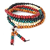 SODIAL(R) 6mm Multicolor 216pzs tibetano rebordea el collar de la pulsera budista de Buda