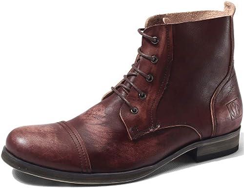 ZHRUI botas con Cordones para Hombre Suela Blanda Antideslizante Durable botas Fahion de Cuero Genuino (Color   rojo, tamaño   EU 40)