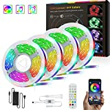 CKTZK LED Strip Lights 65.6FT Ultra-Long RGB Light Music Sync Color Changing Rope Lights 24-Key Remote Bluetooth App Control Tape Light 5050 RGB LEDs Light Timing Lighting for Bedroom Kitchen TV Party