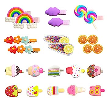 Hair Clips for Toddler Girls 22Pcs Cute Candy Rainbow Barrettes Dessert Patterns Hair Accessories Pretty Hairpins for Baby Girls Toddlers Kids Children