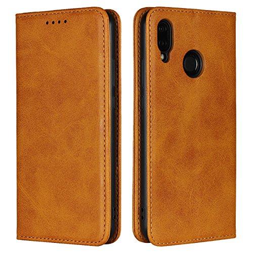 Copmob Huawei P20 Lite hülle,Premium Flip Leder Geldbörse mit weichem TPU-Shock Absorption,[3 Kartensteckplatz][Ständerfunktion][Magnetschnalle] - Hellbraun
