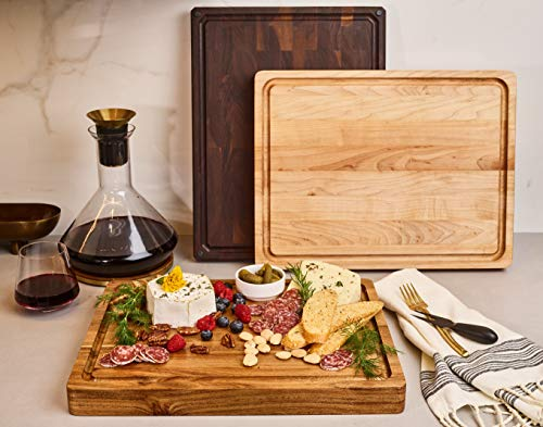 Made in USA, Large Reversible Multipurpose Maple Wood Cutting Board, 17x13x1.5in Juice Groove with Cracker Holder (Gift Box Included) by Sonder Los Angeles