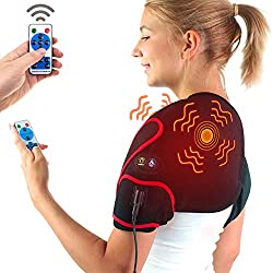sticro Infrared Shoulder Heating Pad Massager for Pain Relief, Vibration Massage Heated Wrap Braces for Left Right Frozen Shoulder, Rotator Cuff Injury, Arthritis Men Woman - S/M/L
