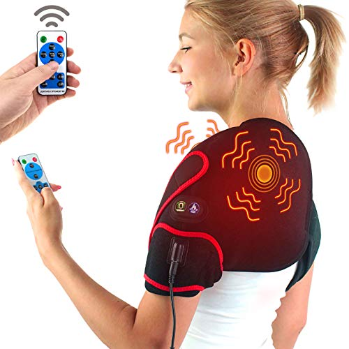 sticro Infrared Shoulder Heating Pad Massager for Pain Relief, Vibration Massage Heated Wrap Braces for Left Right Frozen Shoulder, Rotator Cuff Injury, Arthritis Men Woman - XL/XXL