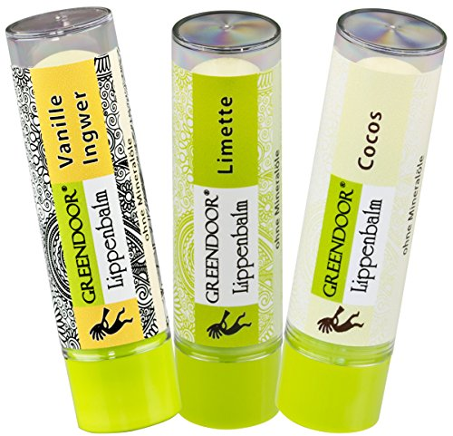 Lippenpflege-Set EXOTIC: Vanille Ingwer, Limette, Cocos - 3 exotisch verführerische pflegende natürliche Greendoor Lippenbalsam Lippen-Pflegestifte zum Sparpreis, Naturkosmetik - natural feeling