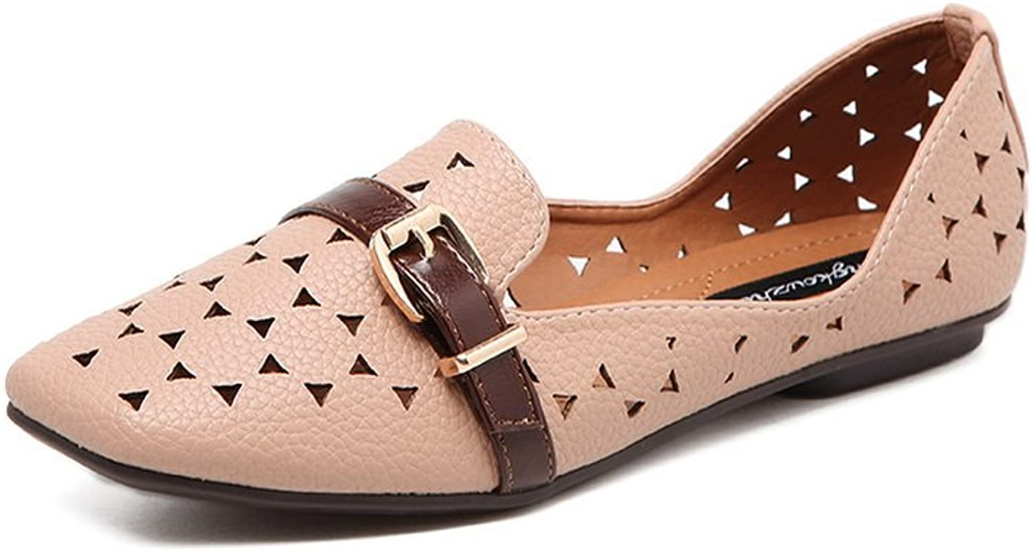 Ladola Womens Square-Toe Buckle Hollow Out Urethane Flats shoes