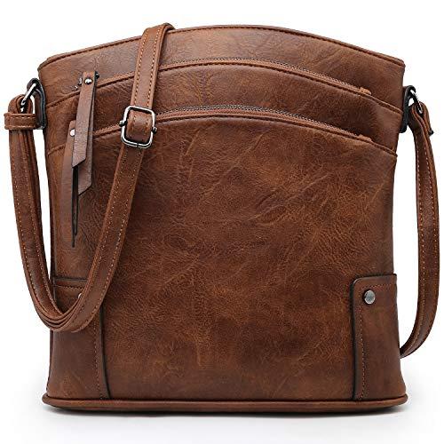 VONMAY Large Crossbody Bags for Women Triple Zip Pocket Cross Body Purses and Handbags Coffee