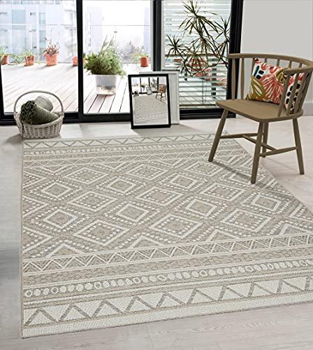 the carpet Calgary - robuster Teppich, Flachgewebe, modernes Design, ideal für Küche und Esszimmer, Vintage-Optik, Boho-Style, besonders flach, auch für den Außenbereich, Beige, 160 x 220 cm