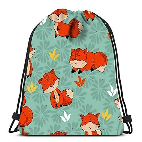 PageHar Kordelzug Taschen Rucksack Nette Cartoon Fox Travel Gym Taschen Rucksack Umhängetaschen