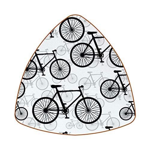 Posavasos triangulares para bebidas, diseño retro de bicicletas, de cuero, para proteger muebles, resistente al calor, decoración de bar de cocina, juego de 6
