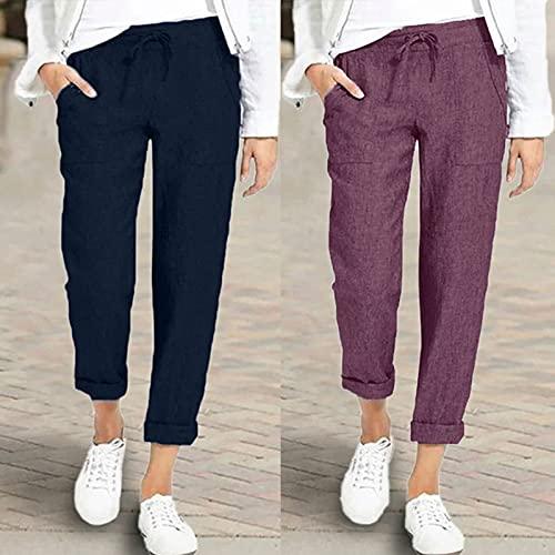 Briskorry Damen Freizeithose Lang High Waist Pyjamahose Nachtwäsche Hose Baggy Schlafhose Sommer Sporthose Schlafanzughose mit Taschen und Kordelzug