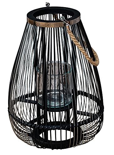 levandeo Laterne H45cm Bambus Windlicht Schwarz Holz Glas Kerzenhalter Sisal Deko Kerzenständer